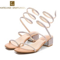 0cdbda1ac6e1 crystal sandals thick heels NZ - Luxury Shoes Women Designers Sandals  Summer Crystal Shoes Woman Gladiator