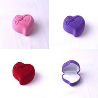 Wholesale flocking packing - Jewelry Box Heart Shaped Ornaments Packing High Grade Flocking Ring Ear Nail Earrings Wedding Storage Free Shipping 3 2msa V