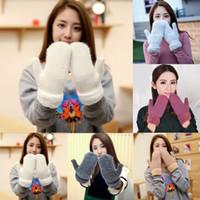 weiße wollhandschuhe großhandel-Handschuhe Damen Winterhandschuhe Echte 100% Wolle Lammfein Ultra Dick Solide Warmweiß 2018 Neue Heiße Verkauf Süße Mode