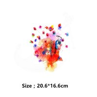 Wholesale Peacock Stickers - 2018 NEW Zlolan Multicolor peacock 20.6*16.6cm Iron On Patches DIY girls T-shirt jacket Grade-A Thermal transfer stickers free shipping