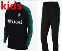 Wholesale boys clothes sets - 2018 kids PORTUGAL tracksuit soccer Training suit pants football training clothes sportswear 2018 world cup Portugal kids Sweater set