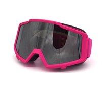 розовые очки для мотоциклов оптовых-Темно-розовый зима лыжи снег Сноуборд снегоход очки мотоцикл мотокросс внедорожные очки горные велосипед грязи ATV очки