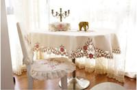 wedding table covers toptan satış-PASAYIONE Çiçek Nakış Oval Masa Örtüsü Eski Yemek Masa Örtüsü Örgü Masa Koşucu Oymak Ziyafet Düğün Dekor