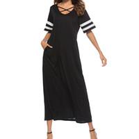 uzun yaz şeritli elbise toptan satış-Casual Uzun Elbise Salıncak Parti Elbise kadın Çizgili Kısa Kollu vestidos verano 2018 Plaj Sundress Kadınlar Yaz Elbiseler