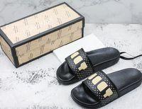 ingrosso rivestimento in pelle nera-moda uomo e donna Black Pursuit In pelle con logo logato scivola sandali pantofole ragazzi ragazze infradito causale con scatola e sacchetti di polvere