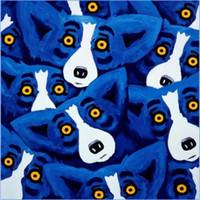 abstrakte ölgemälde tiere großhandel-Rodrigue BLUE DOG ÜBERALL handgemaltes abstraktes Tierölgemälde auf hochwertiger Leinwand-moderner Hauptdekor-Wand-Kunst a121