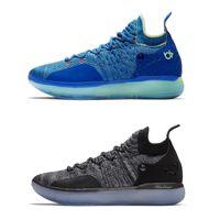 zapatos kd azul al por mayor-2018 KD 11 Zapatillas de baloncesto Negro Gris Persa Violeta Cloro Azul Zapatillas Kevin Durant 11s Zapatos de diseño Zapatillas de deporte para hombre Zapato con caja