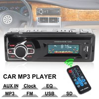 suporte lcd mp4 venda por atacado-12 V Display LCD Car Radio MP3 Player Veículo de Áudio Estéreo In-Dash Aux Suporte Receptor de Entrada TF / FM / USB / SD com Controle Remoto CAU_02A