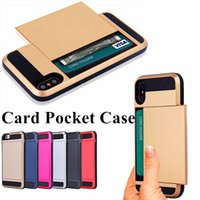 Wholesale Iphone Case Slide Card - Card Pocket Case For iPhone X 8 7 6 6S Plus For Samsung S8 S7 S6 Slide Spacious Wallet Case Slim Armor Case