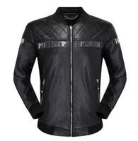 suni deri 3xl toptan satış-En Kaliteli Marka erkek PU Faux Deri Ceketler Mont Kafatası Kafaları Kabanlar kış Ince adam Için Fermuar ABD doları Tasarımcı # 669