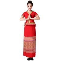 элегантная этническая одежда оптовых-Азиатско-Тихоокеанский женская одежда Тайланд Индия стиль традиционной одежды Лето женское платье фестиваль платье леди элегантный Азиатский этнический костюм