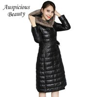 Wholesale leather mink coats women - New Winter Long Coat 2017 Winter High Imitation Water Mink Hair Collar Leather Down Jacket Women Hooded Parkas Mujer CXM132