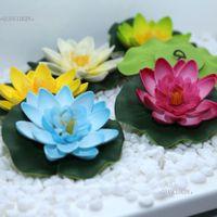 yapay lotus dekorasyonu toptan satış-Ool düğün süslemeleri 10 parça Yapay sahte Lotus çiçekleri Su lotus yaprağı Zambak Yüzer Havuz Gölet çiçekler Bitkiler DIY D ...