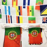 banderas de países calientes al por mayor-Hot Russia World Cup String bandera país 21 * 14 cm Bar decoración bandera Banderas del jardín estilo americano Party Decorations Home Decor T1I329