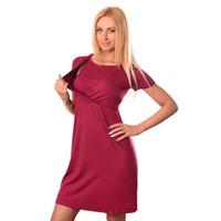 xl pamuklu analık elbiseleri toptan satış-Yeni Yaz Hemşirelik Hamile Kadınlar Annelik yuvarlak boyun kısa kollu Yuvarlak Boyun Elbise Katı Pamuk Emzirme Hemşirelik Elbiseler