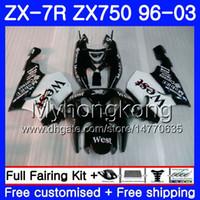 Wholesale 99 kawasaki ninja zx7r fairings online - Black west Body For KAWASAKI NINJA ZX R ZX750 ZX7R HM white ZX ZX R ZX ZX R Fairing