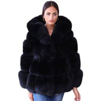 Wholesale fake fur clothing - Fake Fox Fur Jacket With Hood Women Winter Faux Fox Fur Jackets Woman Warm Artifical Coats Female Ladies Clothes FC079