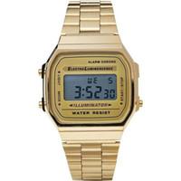 Wholesale Original GASIO RETRO CLASSIC Unisex Digital Stahl Armband A168WA YES Gold