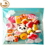 Wholesale strawberry pack online - 20pcs pack Squishies Slow Rising Squishy random sweetmeats ice cream cake bread Strawberry Bread Charm Phone Straps Soft Fruit Kids Toys
