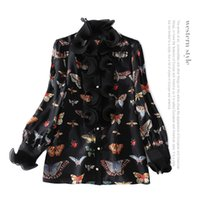 Wholesale Ladies Tops Butterfly Sleeve - 2018 Spring Black Fashion Butterfly Print Long Sleeves Ruffle Real Silk Soie Lady Top Blouse Women Brand Design D12