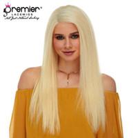 blonde haarfarbe 613 großhandel-Premier 613 blonde Farbe volle Spitze menschliche Perücken brasilianische Jungfrau Haare Seide gerade 613 blonde Farbe Perücken