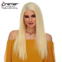 sarışın saç rengi 613 toptan satış-Premier 613 Sarışın Renk Tam Dantel İnsan Peruk Brezilyalı Bakire Kıllar Ipek Düz 613 Sarışın Renk Peruk