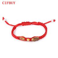 fisch rote seil armband großhandel-CIFBUY Chinesische Rote Seil Charme Armbänder Lässig Handgemachte Holz Fisch Design Einstellbar Frauen Männer Schmuck Für Unisex Günstigen Preis
