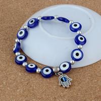 Wholesale Evil Eye Hamsa Beaded Bracelet - MIC 10PC Hamsa Fatima Hand Evil Eye Bracelet Handmade Beads Elastic Band Unisex NEW