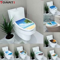 Discount 3d seat - 3D Landscape Creative Toilet Seat Stickers Vinyl Wall sticker Washroom Decals Waterproof Removable Wallpaper Scenery Homer Decor