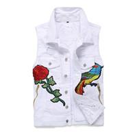 Wholesale jeans pattern design - Classic Vintage Men's Embroidery Hole Jeans Vest Top Sleeveless Casual Fashion Jeans Jacket Slim Vest Men's Sleeveless Tank Top Tide Coat