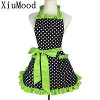 Wholesale Dress Bibs - Xiumood Fashion Sexy Aprons 100 % Cotton Cute Bib White Dots Kitchen Cooking Women Apron Dress With Pocket Gift