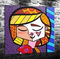 modern boyalı portreler toptan satış-Romero Britto Öz Portre, Tuval Boyama Oturma Odası Ev Dekor Modern Duvar Sanat Yağlıboya