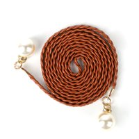 Wholesale rope belted dress - Pearl Knited Belt New Womens Belt New Style Hemp Rope Braid Female Dress