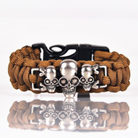 Wholesale stainless steel skull beads - Wholesales 23.3cm Paracord Bracelets with Whistle Skull Survival Emergency Adjustable Buckle Punk Strand Cord Rope Women Men Bangles
