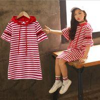 camiseta de manga longa preta listrada venda por atacado-Crianças menina manga curta listrada de algodão estilo longo T camisas camiseta vestido tops vermelho / preto para cerca de 4-10yrs