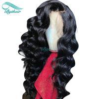 human hair wigs оптовых-Bythair Lace Front Hair Hair Wig Natural Wave Pre Plucked Hairline Полный парик кружева Волнистые малайзийские девичьи волосы 150% Плотность Отбеленные узлы