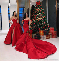 Wholesale cheap long elegant dress blue - Long Red Mermaid Prom Dresses 2018 Sexy Sweetheart Abendkleider Court Train Satin Simple Cheap Evening Party Gowns Elegant Formal Dresses