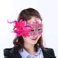 Wholesale sequin masks - 6 Colors Leather Sequins Halloween Half Face Mask Party Decoration Masquerade Masks Craft Supplies Party Supplie Christmas Event Decor
