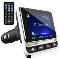 lcd drahtlose fernbedienung großhandel-Bluetooth Car Kit MP3 Player Freisprecheinrichtung FM Transmitter Radio Adapter USB Ladegerät LCD Fernbedienung Mit Kleinkasten 2.0