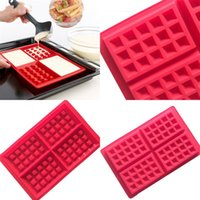 Wholesale waffle mold - Baking Mold Cake Tool Silicone Mould Waffle DIY Non Toxic Safety Biscuits Red Rectangle Hot Sale 3 8mh V