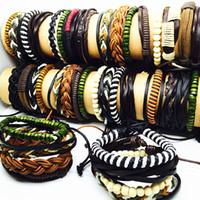 Wholesale handmade wooden bracelets - wholesale 12 set (4 in 1) top mix lot mens womens handmade wooden leather cuff bracelets brand new