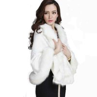 Wholesale rabbit hair shawl - Winter Warm Knitting wool cloak Cashmere Shawl Pashmina faux fox fur large scarf Wraps Imitation Rabbit Fur hair Poncho cape