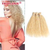 Wholesale 613 blonde hair weave curly for sale - HOTLOVE Mongolian Kinky Curly Human Hair Bundles Blonde Hair Weaving Double Weft Human Remy Hair Extensions