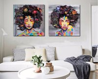 impressionist painting woman portrait 2018 - New 2 Pieces Graffti Street Wall Art Abstract Modern Women Portrait Canvas Oil Painting Set Printed+Painted For Living Room