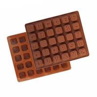 molde de letras del alfabeto al por mayor-26 Letras inglesas Alfabetos Moldes de chocolate en forma de pastel Pudín Postre Decoración Molde Sugarcraft Alfabeto Fondant Molde