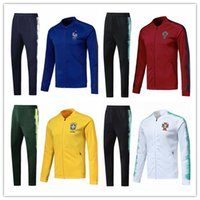 Wholesale brazil football uniform - France Jacket set soccer tracksuit Football brazil tracksuit 18 19 Portugal england TrackSuits survetement Maillot jacket uniform