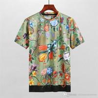 Wholesale shirt 3d shark - Fashion Brand Luxury Famous Men's T-shirts Man cool Tees Summer short-sleeved Designer Snake Flower 3D printed Slim Shark 100% cotton M