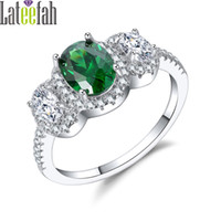ingrosso pietra verde chiara-Lateefah Sier Color May e April Birthstone Ring con anello ovale Royal Green e Clear Crystal Three Stones Anello donna Anel Bague