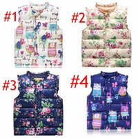 Wholesale girls printed waistcoat - INS Baby Girls Floral Print Waistcoat Spring Winter Kids Girls Graffiti Vests Coat Kids Girl Floral Print Jacket Children Outerwear Clothing