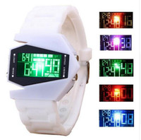 Wholesale christmas airplane - fashion plastic design airplane outdoor sport digital led watches unisex mens women students casual wrist watches 7 color watch